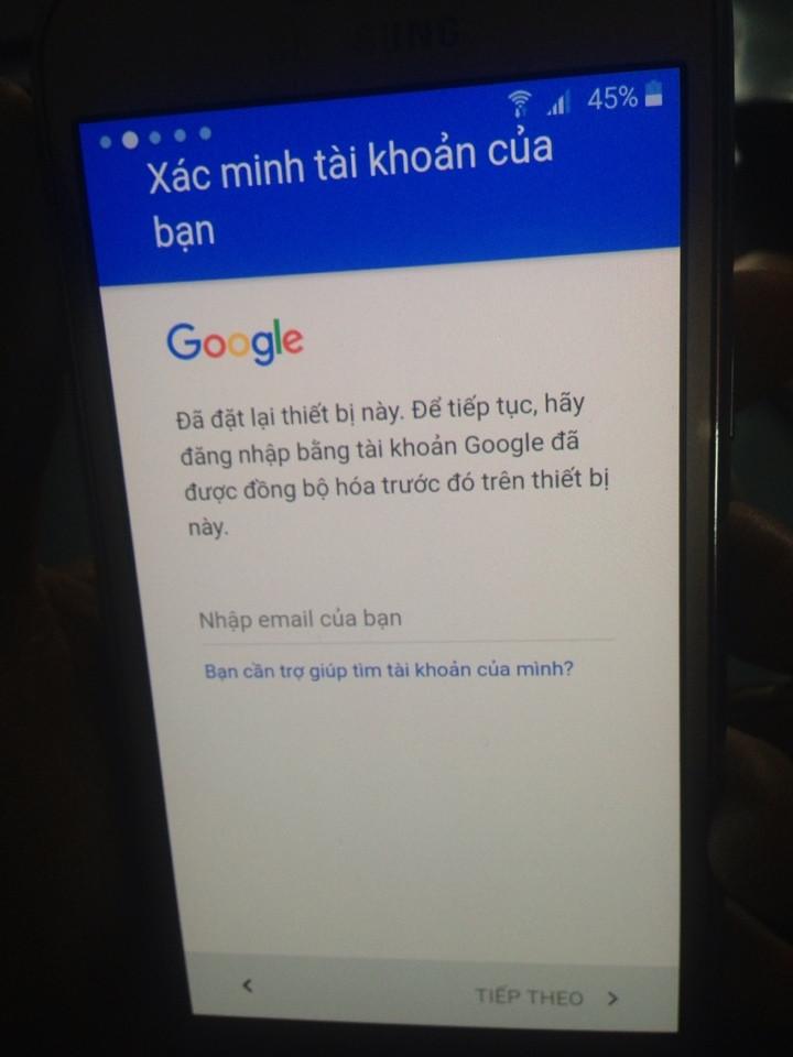 Đăng nhập gmail trên Galaxy A5 2016